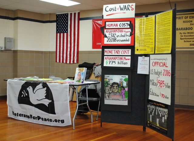 VFP Counter-Recruiting display at Baraboo High School.  Photo by David Giffey.
